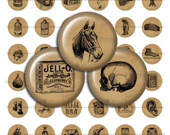 Vintage Ephemera Digital Collage Sheet One Inch Circles for Pendants / Bottle Caps / Crafts 8 1/2 x 11 / Instant Download