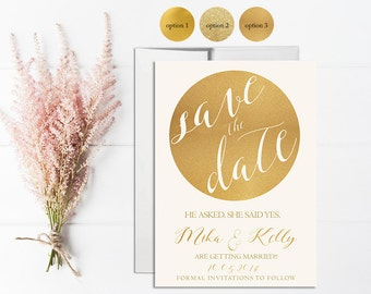 Gold Save the Date Invitation Printable, Wedding Save the Date, Digital, Template, Save the date Card, Gold Glitter, Gold Sparkle, Circle