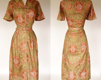 1960s floral shirt waist dress, fit and flare, Cay Artley belted short sleeve dress with rhinestone buttons, large