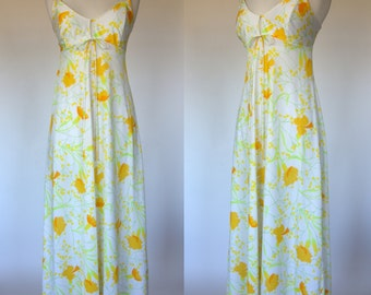 1960s floral night gown, yellow flower print, empire waist, maxi length, nylon, Large