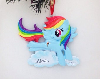 FREE SHIPPING Rainbow Dash Personalized Christmas Ornament / My Little Pony Christmas Ornament / Toddler Ornament / Child Christmas Ornament