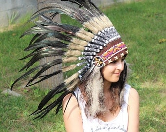 N63- Black natural  colour Feather Headdress / Warbonnet. Native American Inspired.
