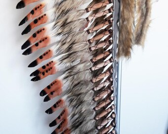 Extra Large Three color Brown   Feather Headdress (43 inch long )