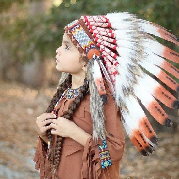 C20-For Children: Indian three colors brown Feather Headdress 5-8 years old