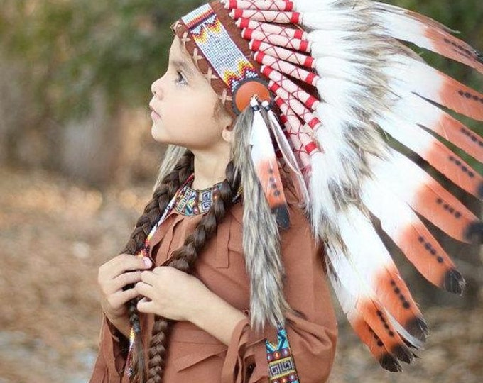 C20-For Children: three colors brown Feather Headdress 5-8 years old
