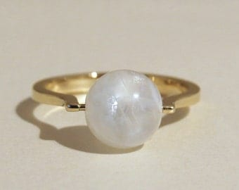 Moonstone gold ring, 14k gold moonstone ring, moonstone engagement ring, unique moonstone ring, 14k gold ring with rainbow moonstone sphere.