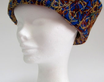 Blue Felted Cloche Hat