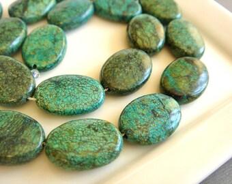 Green Jasper, Smooth Ovals, Green Jasper Oval Beads,  Green Pendant Beads,  Destash Gemstone Beads, 18mm, 10 pieces