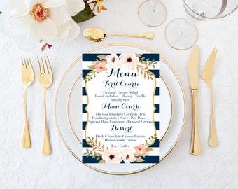 Wedding menu, Navy wedding menu, Striped wedding menu, Blush wedding menu, Reception menu, Vintage wedding menu, Printable wedding menu