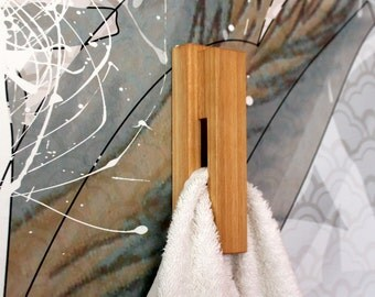 Cherry wood wall hook, wood towel hooks, modern towel rack, bathroom hook, home decor, wooden wall hook, bathroom towel holder, towel rack