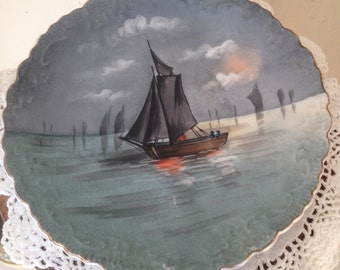 Antique Hand Painted Limoges Decorative Plate Sail Boat by B & H France