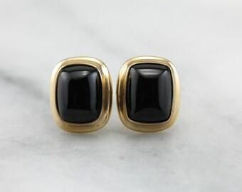 Modern Onyx: Cushion Cut Black Onyx Stud Earrings 52378V-D