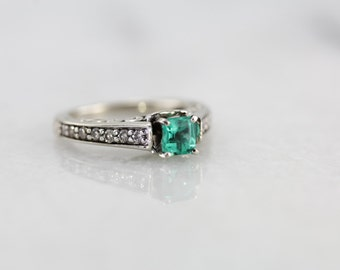 Stunning Emerald and Diamond Engagement Ring  JV1E2P-P