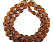 Vintage Chunky Root Beer Lucite 3 Strand Multistrand Japan Necklace