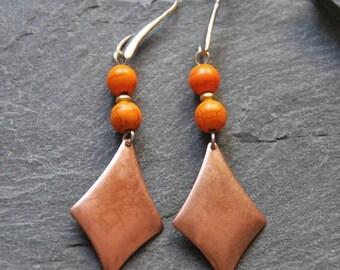Geometric dangle earrings, Long boho earrings, Tangerine Howlite earrings, Gemstone earrings, Copper rhombus earrings, Ethnic jewelry, 1133C