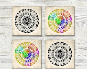 Mandala coasters, Set of square boho drink coasters, Colorful, Black and white, Holiday gift, Hostess gift, CR073