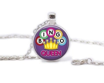 BINGO Queen Necklace with Chain, Gift for Her, Gifts under 10, Game, Bingo Grandma, Gamer Necklace, Bingo Game, Party Game, Dauber
