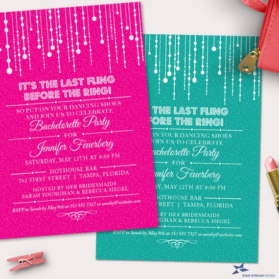 Hanging Fairy Lights Bachelorette Party Hens Night Invitation, Any ...
