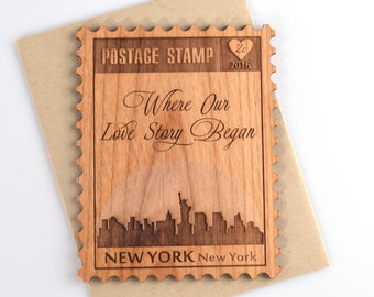 New York City Skyline Wood Card - Valentines Day Cards - Wedding Anniversary Card - Mini Card