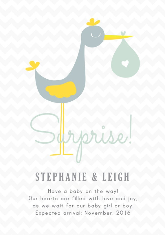 Stork Pregnancy Announcement Cards ELECTRONIC Print File for – Electronic Baby Announcements
