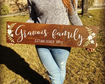 Wedding Established Sign / Personalized Wedding Gift / Last Name Established Sign / Family Established Sign / Rustic Name Sign