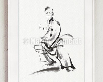Kung Fu, Kung fu Art Print, Martial Arts Poster, Chinese Warrior, Chinese Ink Painting, Warrior Drawing, Zen Art, Abstract