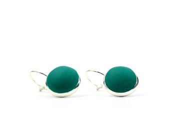 Forest green drop earrings, emerald green earrings, minimalist earrings, forest green dangly earrings, green earrings, lever back earrings