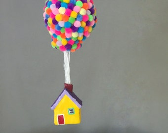 Balloon House Mobile, UP Movie, Hot Air Balloon Mobile, Baby Mobile, Travel Theme Nursery, Up Mobile, Nursery Mobile, Kids Decor,