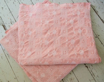 Set of Two, Vintage Pink,  Heavy  Cotton, Woven Bedspreads, Twin Size