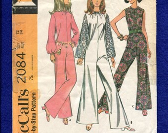 1969 McCalls 2084 French Dart Flared Leg Jumpsuits with Gathered High Necklines Size 12