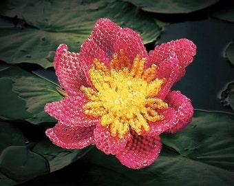 Pattern & tutorial for beaded lotus / water lily - DIY artisan jewellery