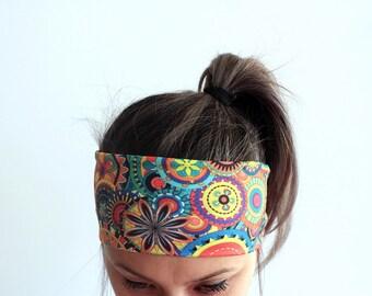 Yoga Headband - Workout Headband - Fitness Headband - Running Headband Boho Headband Double layer Headband Colorful Floral Boho Headband Y11
