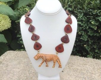 Vintage Necklace Petrifed Wood Beads and Cheetah Ethnic