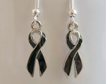 Melanoma and Skin Cancer Ribbon Awareness Earrings