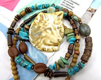 Ceramic Wolf Necklace, Turquoise Wolf Choker, Wolf Necklace, Handmade Porcelain Wolf Necklace, Bone Pow Wow Necklace, Turquoise Mens Choker