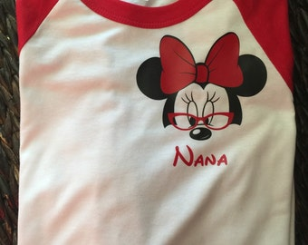 Minnie Mouse Grandma Raglan Shirt/ Disney Raglan / Mimi Shirt/ Nana Shirt / unise raglan / Free Shipping