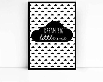 Dream big little one printable- home decor- home quote- home wall art- wall print- home print- nursery print- newborn- nursery