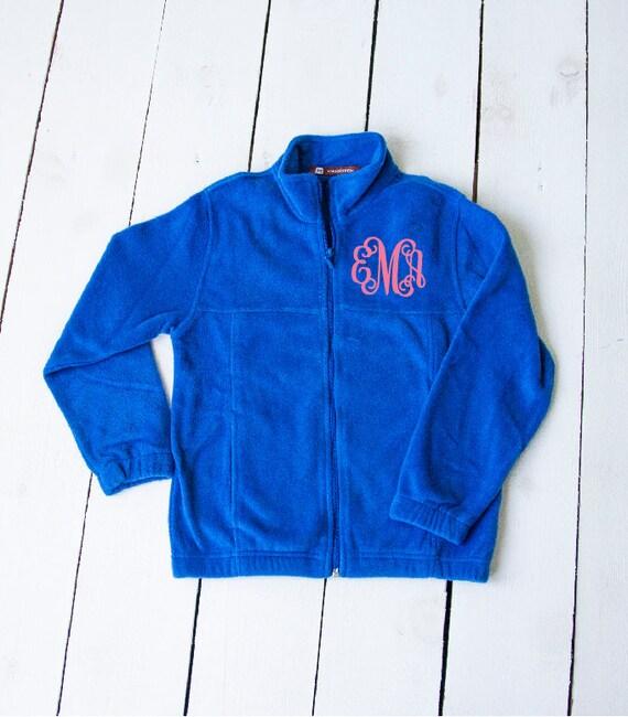 Embroidered monogram fleece jacket sweatshirt by colorchaos