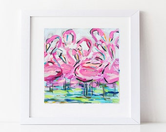 Abstract print, Flamingo art, abstract beach art, square print