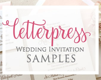 Letterpress Invitation Sampler - Simple, Traditional, Wedding, Invitations, Suite, Blush, Formal, Classic, Gold, Calligraphy, Save the Date