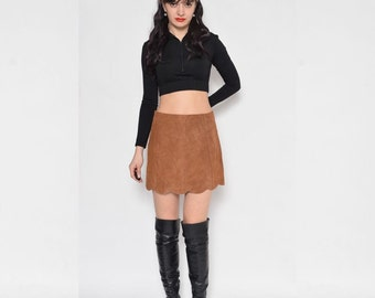 Vintage 90's Suede Leather Mini Skirt / Brown Suede Skirt