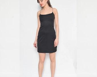 Vintage 90's Strappy Black Mini Dress / Spaghetti Strap Dress / Black Sleeveless Dress / Little Black Dress