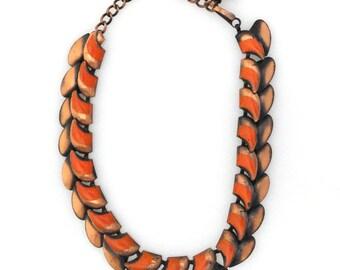Vintage 1940s modernist copper leaf link with orange enamel statement choker necklace