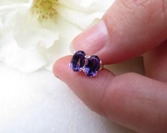 Amethyst Studs, Sterling Silver Earrings, Semi Precious Gemstone Posts, February Birthstone Earrings, 6 x 4 mm Amethyst Purple Faceted Posts