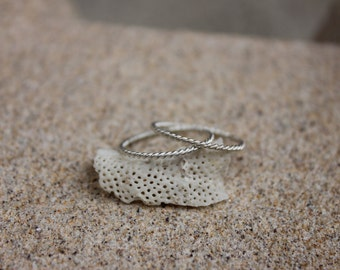 fine twisted wire ring pair sterling silver