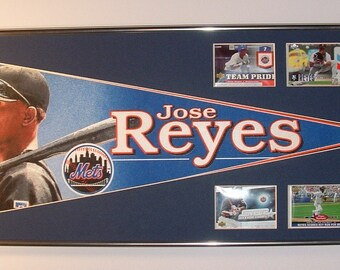 New York Mets Jose Reyes Pennant & Cards...Custom Framed!