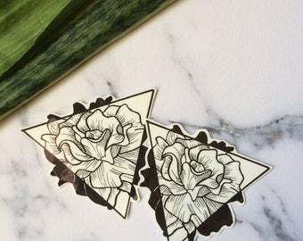 Floral Triangle Temporary Tattoo Flowers Rose Nature Black Gray Monochrome Simple Minimalist Geometric Line Illustration Hipster Original