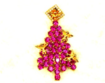 Vintage Pink Rhinestone Christmas Tree Brooch (pin) with Golden Angels