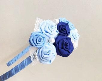 Flower headband/ light blue/ flower girls/ wedding/ rosette hair band/ handmade/ baby girls/ hair accessories/ ceremony/ bridesmaid