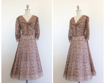 50s Brown Lace Sheer Fall Dress - 1950s Vintage Scalloped Party Dress -